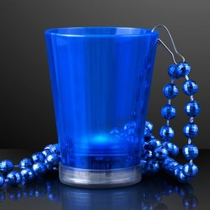 2 Oz. Blue Light Up Shot Glass w/ Bead Necklace