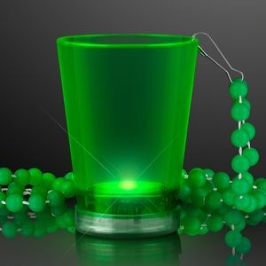 2 Oz. Light Up Green Shot Glass w/ Bead Necklace
