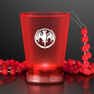 2 Oz. Custom Light Up Red Shot Glass w/ Bead Necklace