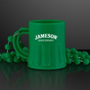 Green Mug Shot Glass on Bead Necklace (NON-Light Up)