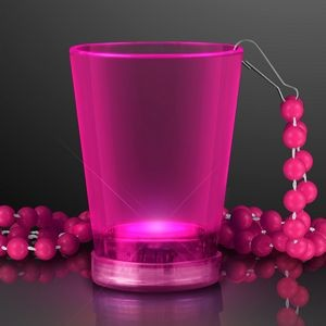 2 Oz. Light Up Pink Shot Glass w/ Bead Necklace