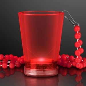 2 Oz. Light Up Red Shot Glass w/ Bead Necklace