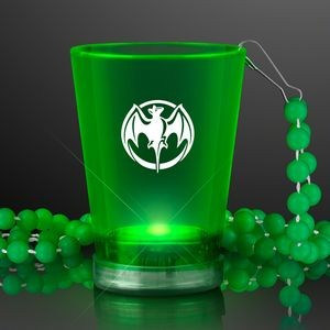 2 Oz. Custom Light Up Green Shot Glass w/ Bead Necklace